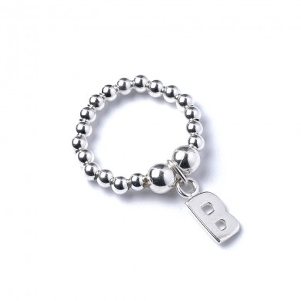 Initial B Charm with Sterling Silver Ball Bead Ring