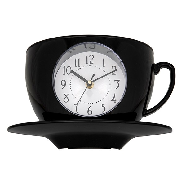 Tearoom Cup & Saucer Clock Black
