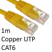RJ45 (M) to RJ45 (M) CAT6 1m Yellow OEM Moulded Boot Copper UTP Network Cable