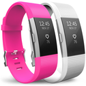 Yousave Fitbit Charge 2 Strap 2-Pack (Large) - Hot Pink/White