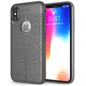 iPhone X Auto Camera Focus Leather Effect Gel Case - Grey