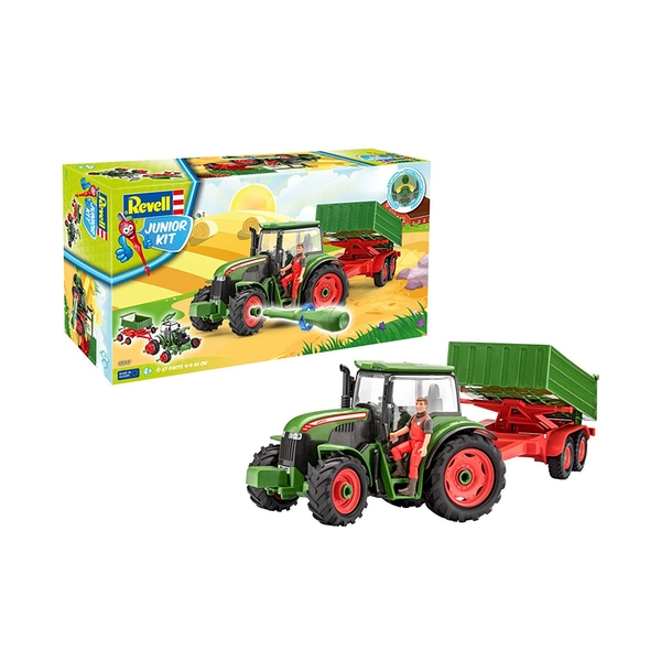 Tractor with Trailer and Figure 1:20 Scale Level 1 Revell Junior Kit - Image 1