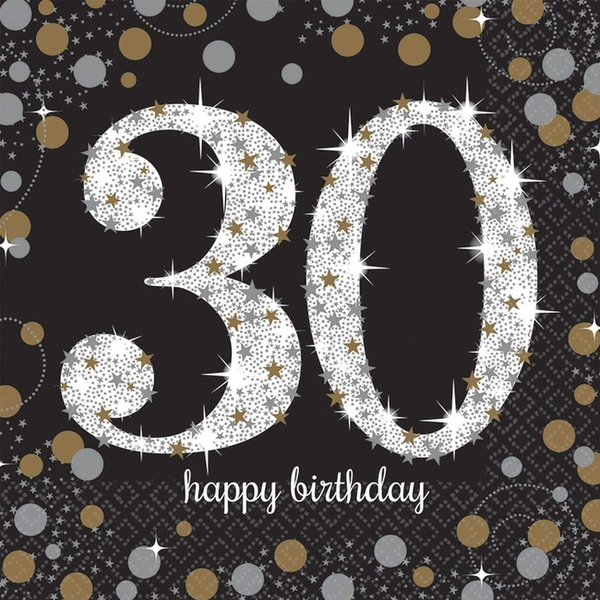 30th Celebration Luncheon Napkins Glittery Gold (Pack Of 16)
