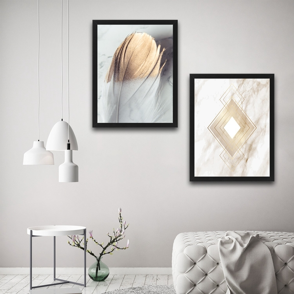 Gold 1 Set Multicolor Decorative Framed Painting (2 Pieces)