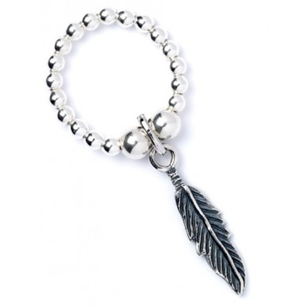 Feather Charm with Sterling Silver Ball Bead Ring