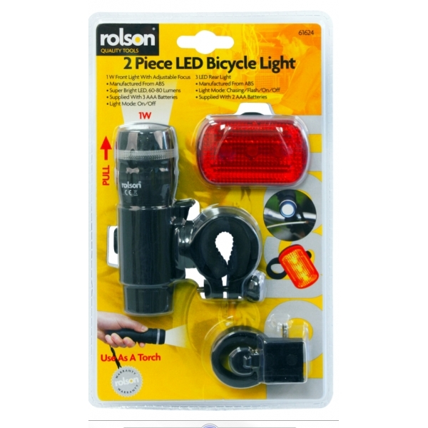 Rolson 2pc Bicycle LED Light Set