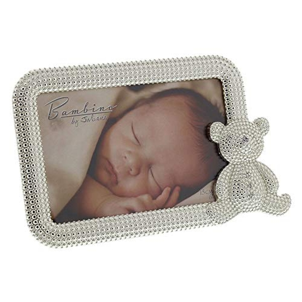 "6"" x 4"" - Bambino Silver Plated Crystal Teddy Photo Frame"