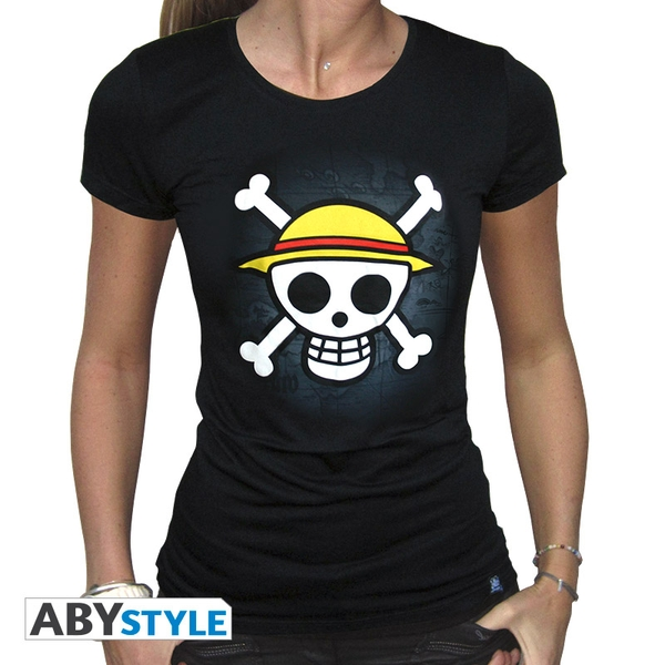 One Piece - Skull With Map Women's Large T-Shirt - Black