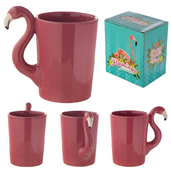 Funky Pink Flamingo Shaped Handle Ceramic Mug