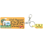 Pack of 6 What Happens at the Caravan Stays at the Caravan Key Rings