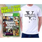 Grand Theft Auto GTA V (Five 5) (Atomic Blimp DLC) & Wanted V T-Shirt in Medium Game Xbox 360