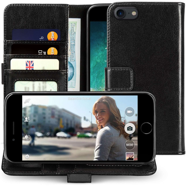 Compare prices with Phone Retailers Comaprison to buy a Apple iPhone 8 Real Leather Wallet Case with ID Slots - Black