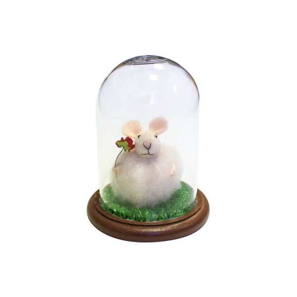 Mouse Under Glass Dome Decoration By Heaven Sends