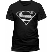 Superman - Logo Mono Distressed Men's Small T-Shirt - Black