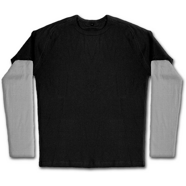 Urban Fashion Inner Silver Men's X-Large Long Sleeve T-Shirt - Black