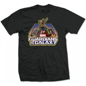 Marvel Comics Men's X-Large T-Shirt Guardians of the Galaxy Group Logo - Black