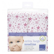 Bambino Mio Extra Large Muslins Pink Stars 2 Pack 120 x 120cm