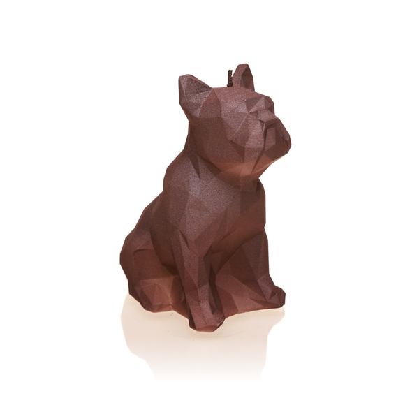 Stone Brown Low Poly Bulldog Candle