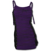 Gothic Rock Long Laceup Camisole Purple Women's Small Sleeveless Top - Black
