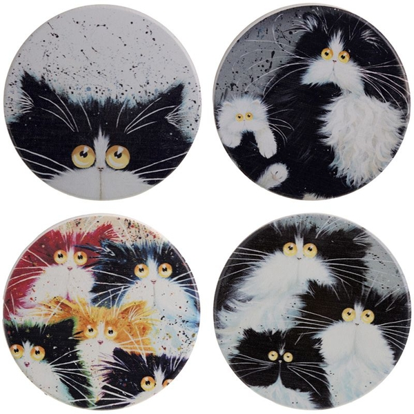 Kim Haskins Cats Set of 4 Coasters