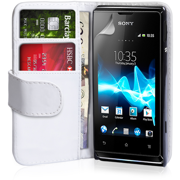 YouSave Accessories Sony Xperia E Leather-Effect Wallet Case - White