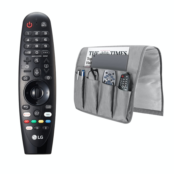 LG AN-MR19BA Magic Remote Control for Select 2019 LG Smart TV w/ AI ThinQ with M&W Sofa Armrest Organiser