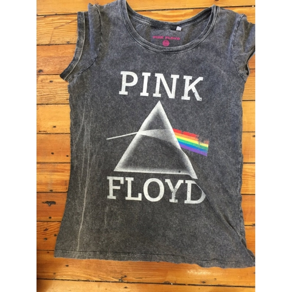Pink Floyd Vintage Prism with Acid Wash Finish Ladies X-Small T-Shirt - Grey