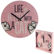 Simon's Cat Pink Slogan Wall Clock