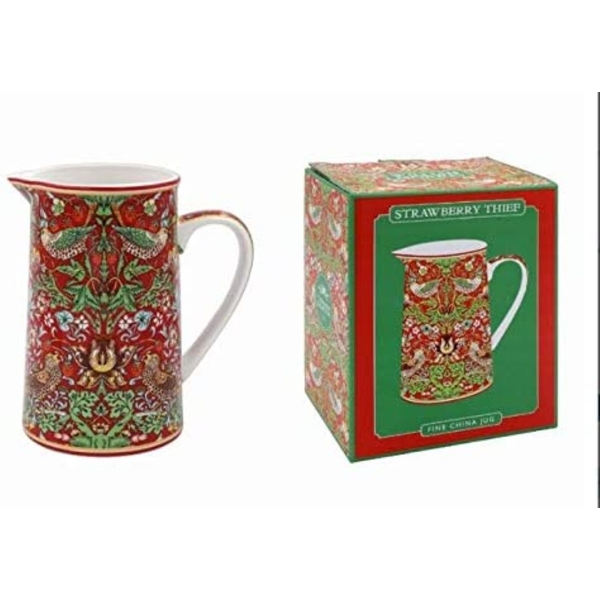 William Morris Strawberry Thief Red Jug By Lesser & Pavey