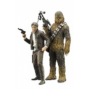 Star Wars Episode 7 Han Solo Chewbacca ArtFx+ Statue 2 Pack