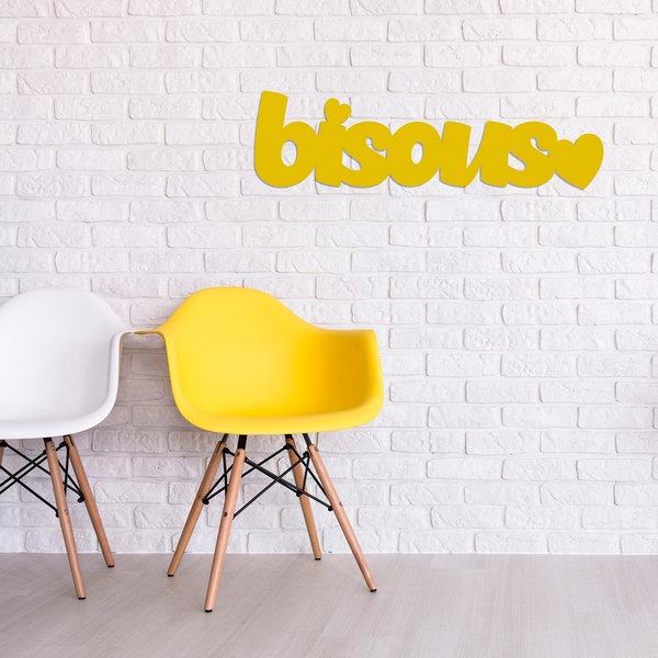 Bisous - Yellow Yellow Decorative Wooden Wall Accessory