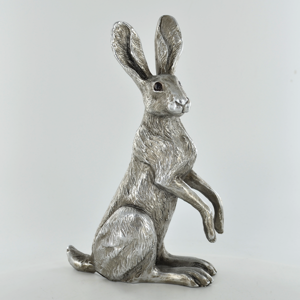 Antique Silver Poppy Hare Ornament