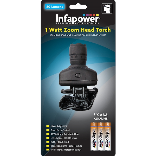 Infapower 1 Watt Zoom Head Torch