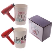 Hair Drier Shaped Handle Ceramic Mug