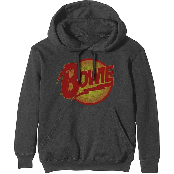 David Bowie - Vintage Diamond Dogs Logo Men's XX-Large Pullover Hoodie - Charcoal Grey
