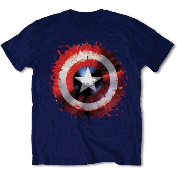 Marvel Comics - Captain America Splat Shield Unisex XX-Large T-Shirt - Blue