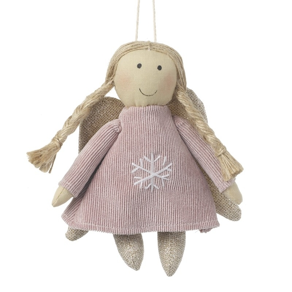 Pink Fabric Hanging Angel Decoration by Heaven Sends