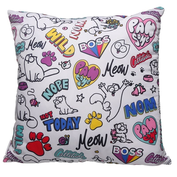 White Simon's Cat Pawsome Cushion with Insert