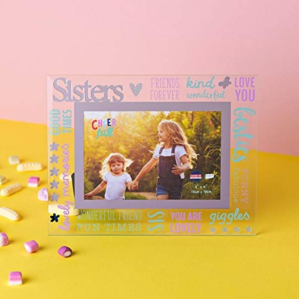 "6"" x 4"" Cheerful Glass Photo Frame - Sister"