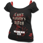 Nobody's Bitch The Walking Dead Women's 4XL 2In1 Red Ripped Top - Black