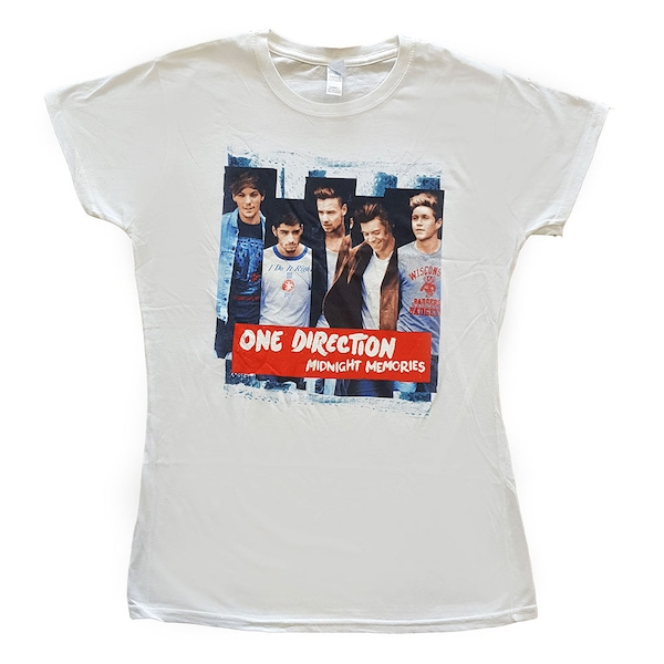 One Direction - Midnight Memories Strips Ladies Large T-Shirt - White