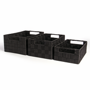 Nylon Storage Baskets 3 Pack - Large, Medium & Small | Pukkr Black IHB USA (NEW)