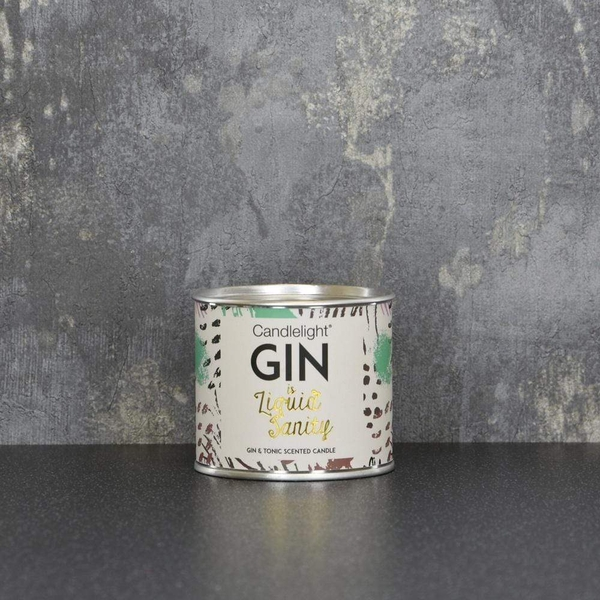 Candlelight Gin is Liquid Sanity Small Tin Candle with Ring Pull top Gin and Tonic Scent