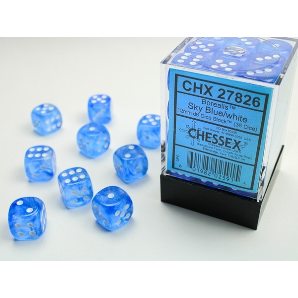 Chessex 12mm d6 Dice Block: Borealis Sky Blue/white