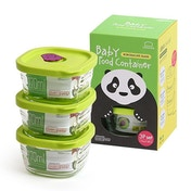 Lock & Lock Set of 3 Glass Baby Food Containers, 170ml