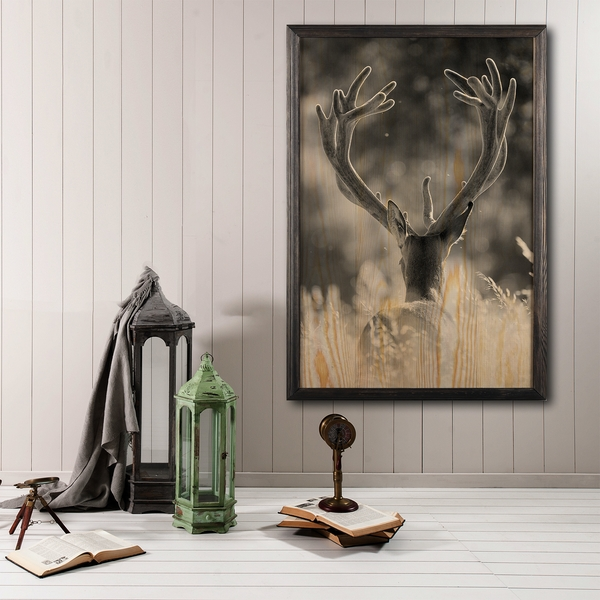 Stag Multicolor Decorative Framed Wooden Painting