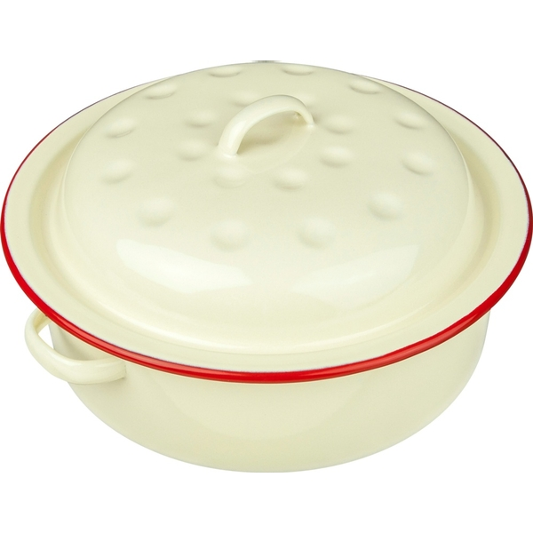 New Falcon Enamel Round Roaster Cream with Red Trim 20cm