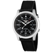 Seiko 5 SNK809K2 Mens Automatic Watch Black Dial with Black Fabric Belt