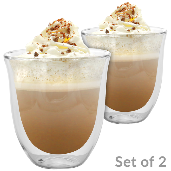 2 Double Walled 190ml Cappuccino Glasses | M&W
