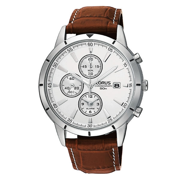 Lorus RF325BX9 Mens Leather Strap Chronograph Watch With Alarm Feature